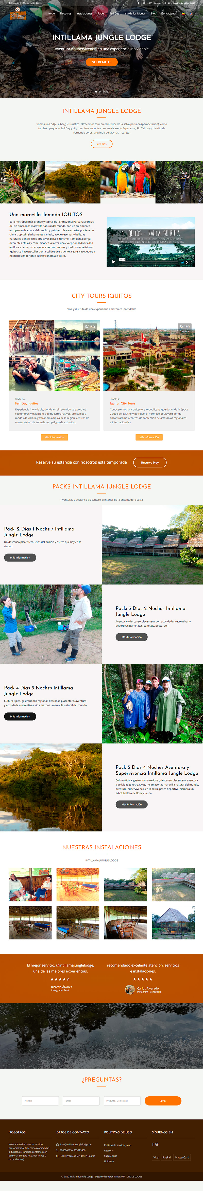INTILLAMA JUNGLE LODGE - Página web en WordPress